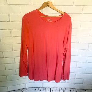 CHICOS. Pink/orange long sleeve. Size L